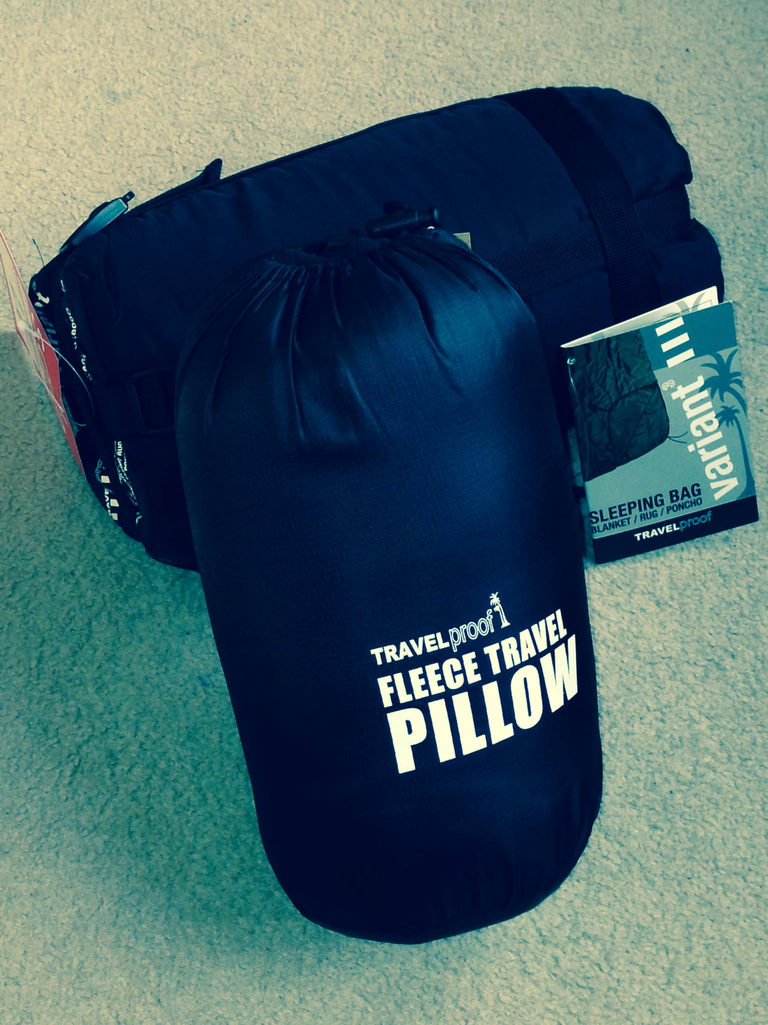 The first kit - Variant sleeping bag and travel pillow, both on sale