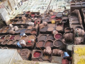 Real leather - The colourful scene at Fes' tanneries