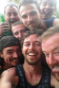 Mass selfie - Matt, front and centre, captures the enthusiastic response to the first cold beers for more than a week